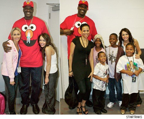 shaquille oneal�s family outing with hannah montana