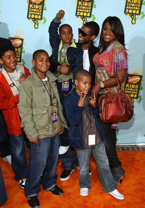 singer usher singer chris brown inn orange and three of usher s step    Usher Kids And Wife